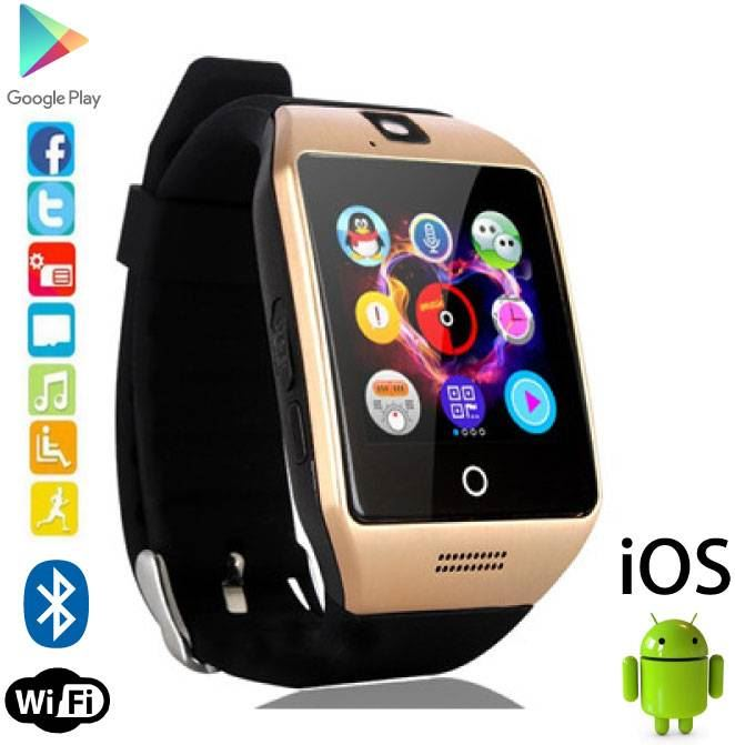Stuff Certified Q18 Smartwatch Curved HD Smartphone Horloge OLED Android iOS Goud
