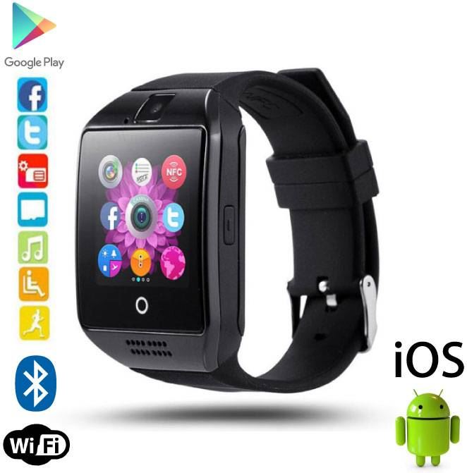 Stuff Certified Q18 Smartwatch Curved HD Smartphone Horloge OLED iOS Android Zwart