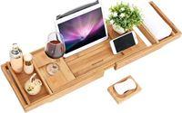 Songmics HQ Badrek Bad Tafel Plank - Badplank Rek Verstelbaar - Badbrug Bamboe Hout