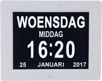 Leagwhar Kalenderklok Digitale Dementie klok wit Kalender met datum, tijd en alarm / ochtend middag avond aanduiding