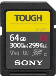 Sony SDHC 64GB Tough R300 W299 UHS-II CL10 U3 V90 SF64TG