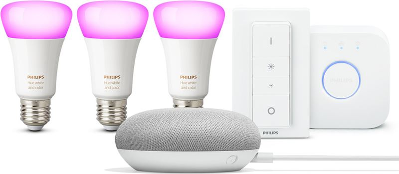 Philips Hue Google Home Mini White and Color Ambiance Starterkit E 27 Bundel