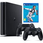 Sony PlayStation 4 Slim 1TB + FIFA 19 + 2 controllers zwart