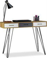 Relaxdays designer bureau modern - 3 lades - computertafel - werktafel - laptoptafel