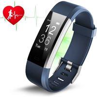 Smartwatch-Trends Activity Tracker met Hartslagmeter Blauw Fitness Armband Hartslag Horloge Stappenteller Calorieteller Nieuw Model Maat Pols 14 cm tot 19 cm