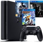 Sony PlayStation 4 Slim 1TB + Uncharted 4 + The Last of Us + Ratchet & Clank zwart