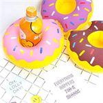 Elemental Goods 2x Leuke drijfbare bekerhouder Opblaasbaar Zwembad Donut paars
