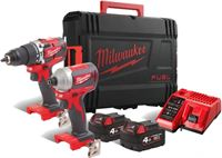 Milwaukee M18 CBLPP2A-402C 18V Li-Ion accu klopboor-/schroefmachine M18 CBLPD-0 & Slagschroevendraaier M18 CBLID-0 Combiset 2x 4 0Ah accu in HD box