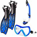 #DoYourSwimming - Snorkelset - »Nixe« - duikbril + zwemvliezen / flippers zwemvinnen + snorkel - EU 44-48 - blauw