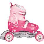 Nijdam Junior Rolschaatsen Junior Verstelbaar - Hardboot - Fuchsia/Roze/Wit - 34-37