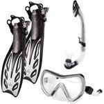 #DoYourSwimming - Snorkelset - »Nixe« - duikbril + zwemvliezen / flippers zwemvinnen + snorkel - EU 34-38 - grijs