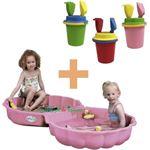 Speelgoed de Betuwe Zandbak schelp roze met deksel en Summertime emmerset uni 14cm