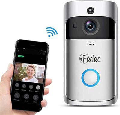 Draadloze Deurbel Met Camera.Fedec Wi Fi Video Deurbel Met Camera Zilver Draadloos 720p