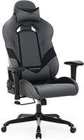 Songmics Ergonomische bureaustoel gamestoel met kantelfunctie en verstelbare armleuningen grijszwart