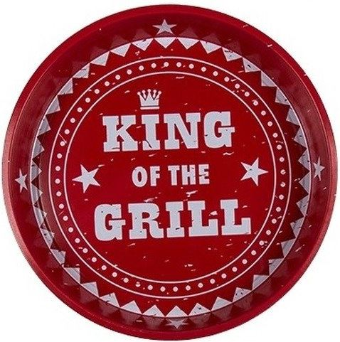 Rode metalen dienblad King of the Grill
