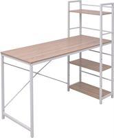 vidaXL Boekenkast met 4 planken en bureau eiken
