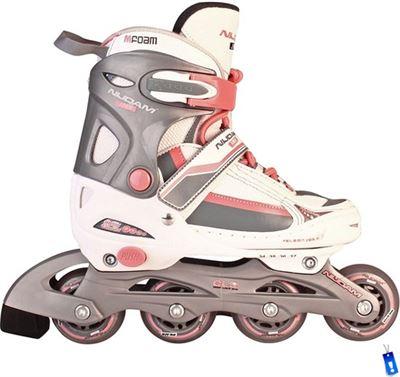 7580af47f90 Nijdam Inline Skates InlineSkates - Roze/Wit/Grijs - Junior - Verstelbaar -  Maat 30-33