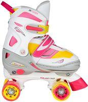 Nijdam Junior Rolschaatsen Meisjes Verstelbaar Semi-Softboot - Rave Skate - Fluorroze/Fluorgeel/Wit/Grijs/Antraciet - 38-41