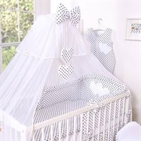 f1317326001 My Sweet Baby 3-Delig Bedset Two Hearts Voile Dots/Zwart