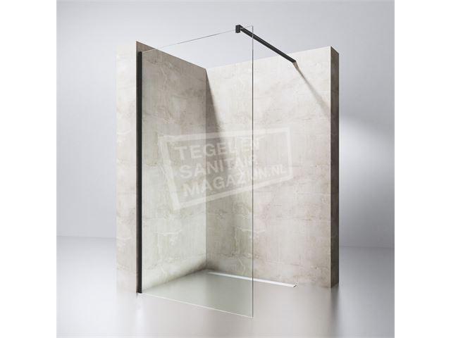 Douchewand 70 Cm : Gradara black edition 70 cm douchewand 8 mm muurprofiel zwart links