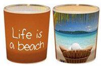 Een lichtje voor jou -: Waxinelichtjeshouder Life is a beach cadeau met een boodschap