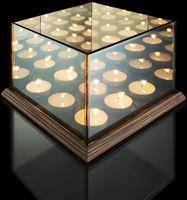 Lifa-Living Waxinelichthouder met Spiegelglas - 9 Waxinelichtjes - Geven een Oneindige Verlichting - Sfeerverlichting - Hout & Glas