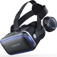 VR SHINECON Virtual Reality Bril met Earphones - 4 tot 6 inch - Zwart zwart