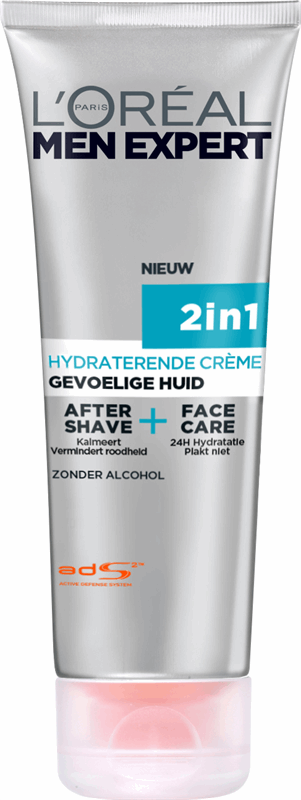 L'Oréal Hydra Sensitive Men Expert Hydra Sensitive 2in1 - gevoelige huid - 75ml - Aftershave en gezichtscrème