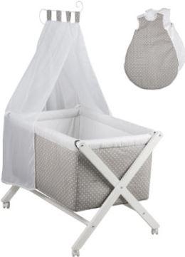 840eb4d0967886 Roba compleet wiegbedje inklapbaar witte stippen met hemel en slaapzak -  Wit - Gr.50x90 cm
