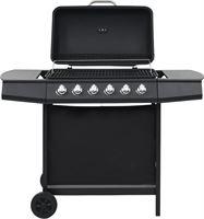 vidaXL Gasbarbecue met 6 kookzones staal zwart