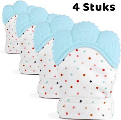 Gouda Select 4 Bijthandschoenen Blauw Voor Doorkomende Baby Tandjes