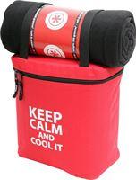 Keep Calm 8260 Koeltas met Plaid / Deken / 32 x 27 x 16 cm / 14 Liter / 150 x 130 cm / Rood