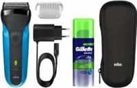 Braun Series 3 310s Oplaadbaar Wet & Dry Elektrisch Scheerapparaat, Reisetui en Gillette Gel, Blauw