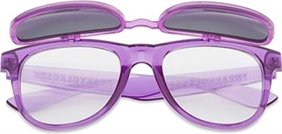 402547578e9dbd Freaky Glasses Flipstyle spacebril transparant paars effect met zonnebril