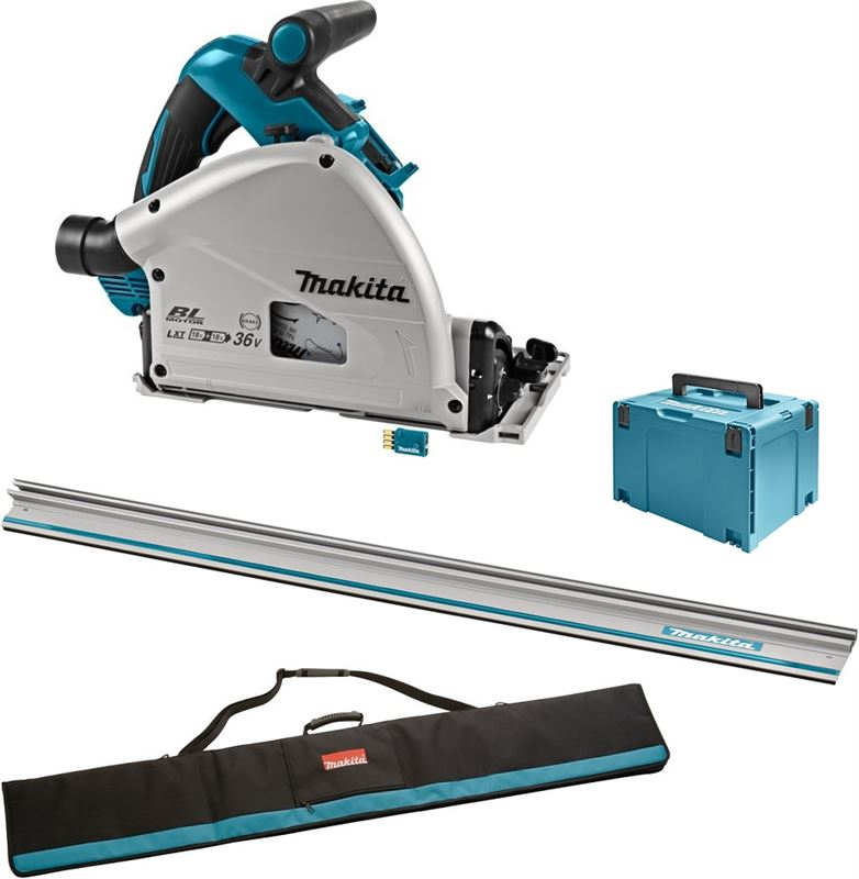 Makita DSP601ZJU2 36V (2x 18V) Li-Ion accu invalcirkelzaag body in Mbox (AWS) incl. geleiderail - 20 x 165mm - koolborstelloos