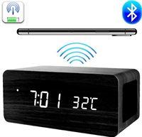 Xclusivewood Houten wekker Houten Qi-charger Houten Bluetooth speaker Houten klok - Bruin Draadloze oplader