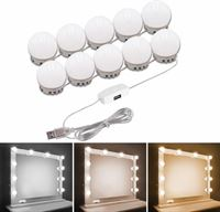 DirectSupply ProLED - Hollywood Spiegel lampen - 10 dimbare LED Spiegellampen met 3m Plakkers - Make up spiegel LED verlichting - Spiegelverlichting - badkamer spiegel verlichting - Theaterspiegel LED verlichting - USB aansluiting - incl. dimmer - Excl. adapter
