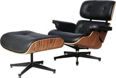 Uitgelezene GB Lederen Design Lounge Chair Fauteuil met Ottoman in Palissander RV-49