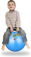Relaxdays skippybal kinderen - springbal klein - 45 cm - handvat - binnen buiten - dier blauw