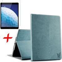 iCall Apple iPad Air 10.5 (2019) Hoes + Screenprotector - Canvas Eco Leer Smart Book Case Hoesje - - Blauw