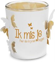 Miko Products Stralend lichtje - Ik mis je - 6,5cm - sfeerlicht met waxinelichtje