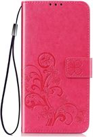 Shop4 - OnePlus 7 Pro Hoesje - Wallet Case Bloemen Patroon Roze