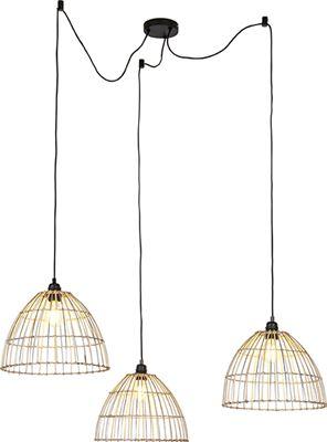 QAZQA Landelijke hanglamp met 3 rotan kappen Cava