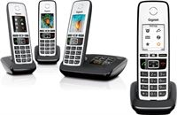 Gigaset A670A Quattro Full Color - 4 handsets - Met antwoordapparaat - Zwart/wit