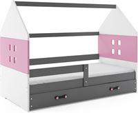 Perfecthomeshop Kinderbed Huisje Grijs & Roze