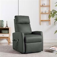 vidaXL Fauteuil elektrisch sta-op-stoel kunstleer grijs