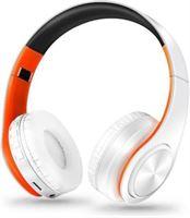 ZAPET Draadloze Koptelefoon Bluetooth Wireless Headphones Stereo Gaming Oranje-Wit