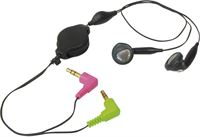 transmedia Stereo headset earphones - 2x 3,5mm Jack / zwart
