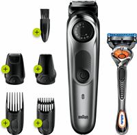 Braun BT7220 Baardtrimmer En Haartrimmer Voor Mannen, 39 Lengte-instellingen, Zwart/Metaalgrijs