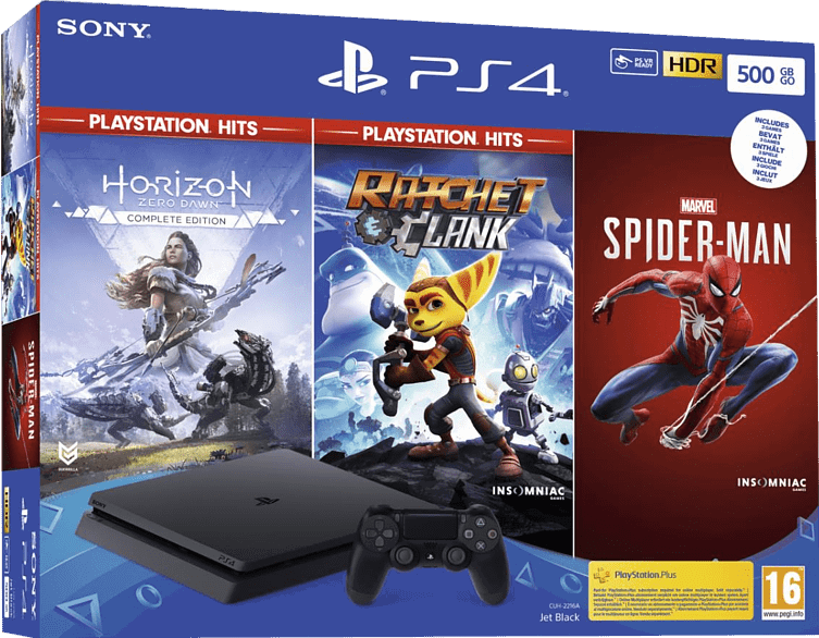 Sony Playstation 4 Slim 500GB / zwart / Spiderman + Horizon Zero Dawn + Ratchet & Clank